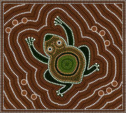 Toad. A illustration based on aboriginal style of dot painting depicting toad Stock Photography