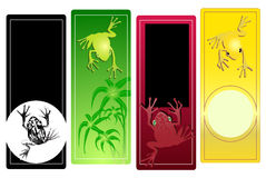 Toad banners. Color full frogs stickers set isolated in white Royalty Free Stock Photography