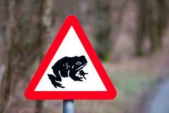 Toad Crossing road sign Royalty Free Stock Photography