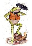 Toad Holding Umbrella Illustration. Watercolour illustration of a toad standing on a snail and holding an umbrella Stock Photo