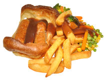 Toad In The Hole And Chips. With mixed vegetables and gravy, isolated on a white background stock image