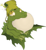 Toad on a leaf.Cartoon Royalty Free Stock Images