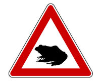 Toad migration warning sign Stock Photos