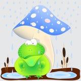 Toad under the mushroom cartoon vector illustration. Toad under the mushroom cartoon cute vector illustration vector illustration