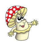 Toadstool. Color illustration of toadstool with face and hands Royalty Free Stock Image