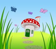 Toadstool Home. A toadstool with door window and chimney Stock Image