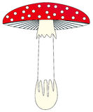 Toadstool ilustration. Simple illustration of red toadstool (amanita) with white dots Royalty Free Stock Photography