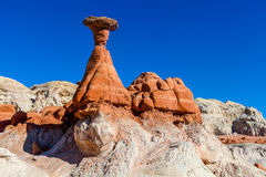 Toadstool Trail in Utah north of Page. Grand Staircase Escalante National Mon. The formations of the Toadstool Trail look spectacular, encompassed by deep blue stock images