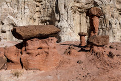 Toadstool Trail in Utah north of Page. Grand Staircase Escalante National Mon. The formations of the Toadstool Trail look spectacular, encompassed bywhite stock photos