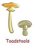 Toadstools изолированные шаржем Стоковое Изображение