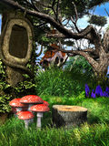 Toadstools under the hollow tree Royalty Free Stock Images