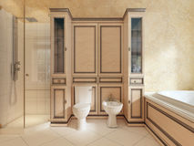 Toaleta i bidet w klasycznej łazience Zdjęcie Royalty Free