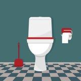Toaleta, papier toaletowy i muśnięcie, Fotografia Stock
