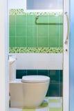 Toaleta z zieleni płytki widokiem Obrazy Stock