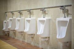 Toalete cerâmico branco fixado na parede no banheiro telhado marrom Fotografia de Stock