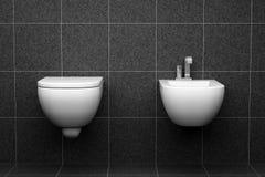 Toalete moderno com as telhas pretas na parede imagem de stock royalty free