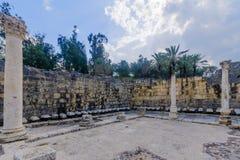 Toalete público romano na cidade antiga de Bet Shean Imagens de Stock