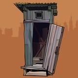 Toalete quebrado de madeira rústico velho com a porta aberta Imagens de Stock Royalty Free