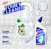 Toaletowe cleaner sztandaru reklamy, skutek cleaner before and after Zielony wirusowy uciekać od błyszczeć toaletowego puchar det Obrazy Stock