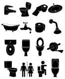 Toaletowe washroom ikony ustawiać ilustracja wektor