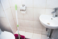 Toaletowy pokój z toaletowym pucharem i kąta washbasin Obraz Stock