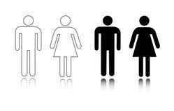toalett för kvinnligsymbolsmanlig Arkivbilder