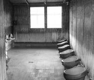 Toalett i Sachsenhausenen-Oranienburg Arkivbilder