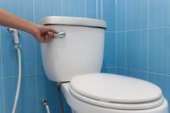 Toalett med spolning Press och spolning Royaltyfri Bild