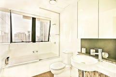 Toalett nära glass fönster med tegelplattor Royaltyfria Foton