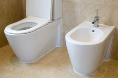 Toalett och bidé Fotografering för Bildbyråer