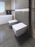 Toalett och bidé i modernt badrum Arkivfoto