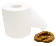 Toalett som är pappers- med avföring Arkivbild