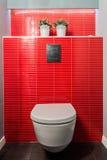 Toalettbunke, röda tegelplattor royaltyfria bilder