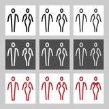 Toaletten stiliserade linjen undertecknar vektorsamlingen Fotografering för Bildbyråer