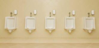 Toaletter för toaletter för pissoarman fem rena offentligt Arkivfoton