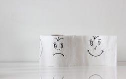 Toalettpapper med smiley Royaltyfri Fotografi