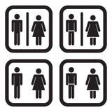 Toalettsymbol i fyra variationer Fotografering för Bildbyråer