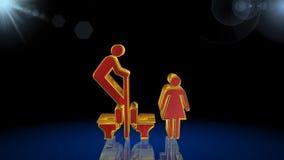 Toalettsymbol, tecken, bästa 3D illustration, bästa animering arkivfilmer