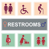 Toalettsymbolsvektor, toalettsymbol Arkivbild