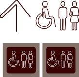 Toaletttecken med mannen, kvinnlig, rörelsehindrad person s Fotografering för Bildbyråer