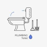 Toalettvektorsymbol Vektor Illustrationer