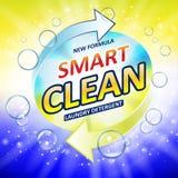 Toalety lub łazienki balii cleanser sztandaru reklamy Toalety lub łazienki Pralnianego detergentu projekt Płuczkowy proszek lub c Obraz Stock