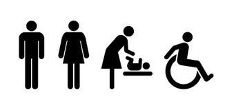 Toalety ogólnoludzki ustawiający znaki ilustracji