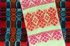 Toalha Belorussian com testes padrões geométricos clássicos Imagem de Stock Royalty Free