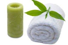Toalha com folha de bambu Fotos de Stock