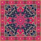 Toalha de mesa com a flor vermelha estilizado - mandala ilustração stock