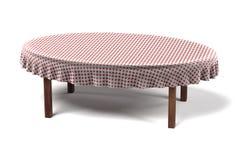 Toalha de mesa na tabela Fotos de Stock