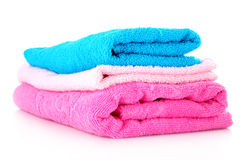 Toalhas coloridas empilhadas Fotografia de Stock