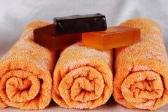Toalhas e sabões Foto de Stock Royalty Free