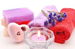 Toalhas e sabões coloridos Foto de Stock